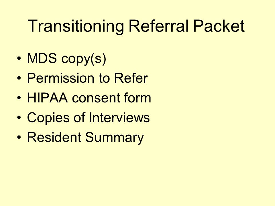 Transitioning Referral Packet