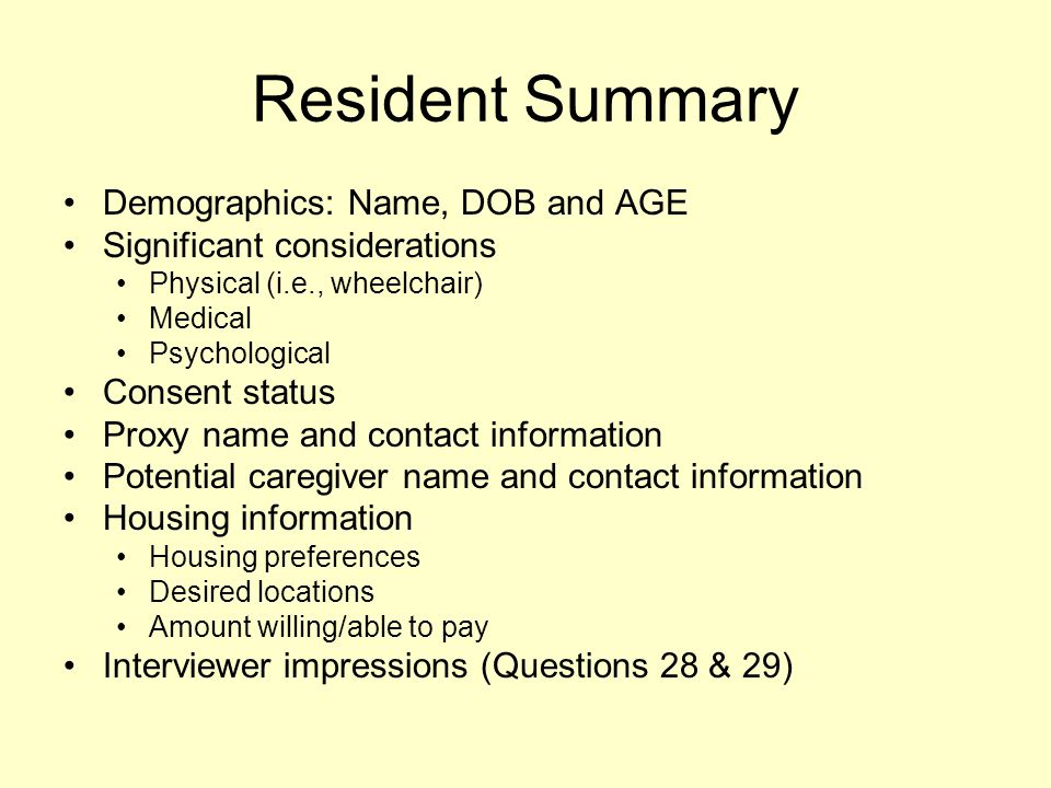 Resident Summary Demographics: Name, DOB and AGE