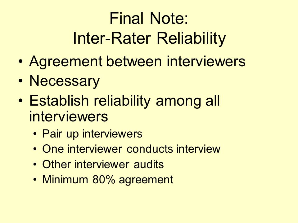 Final Note: Inter-Rater Reliability