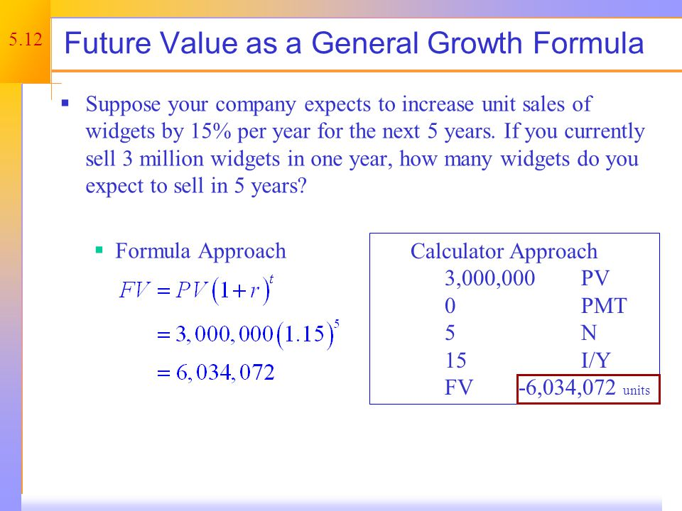 Present Values – 5.2 How much do I have to invest today to have some specified amount in the future Start with the formula for FV and rearrange.