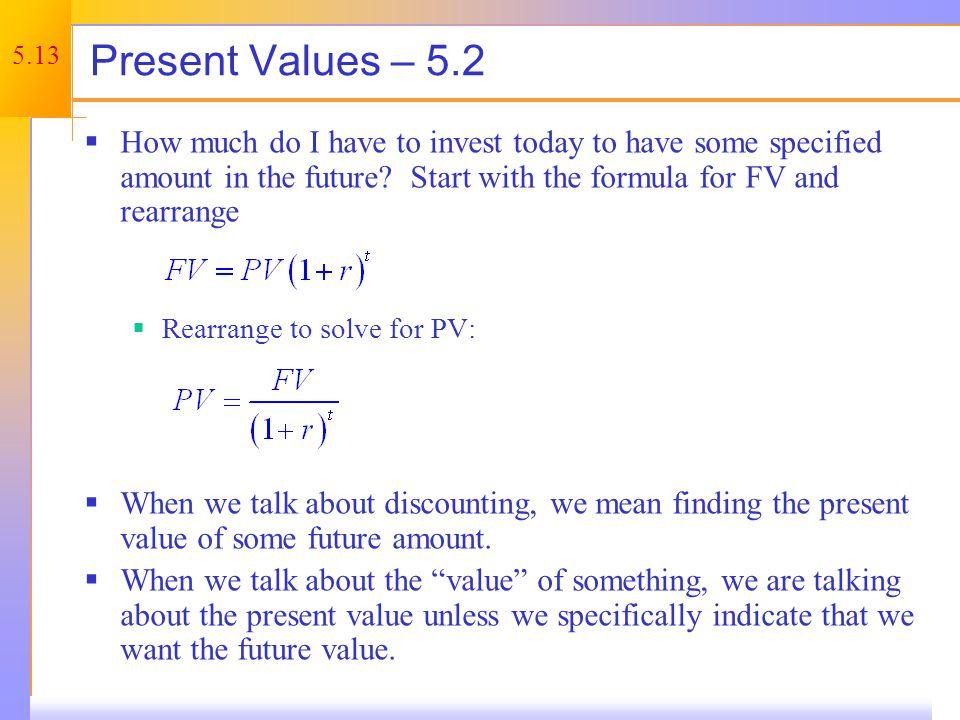 Present Value – One Period Example