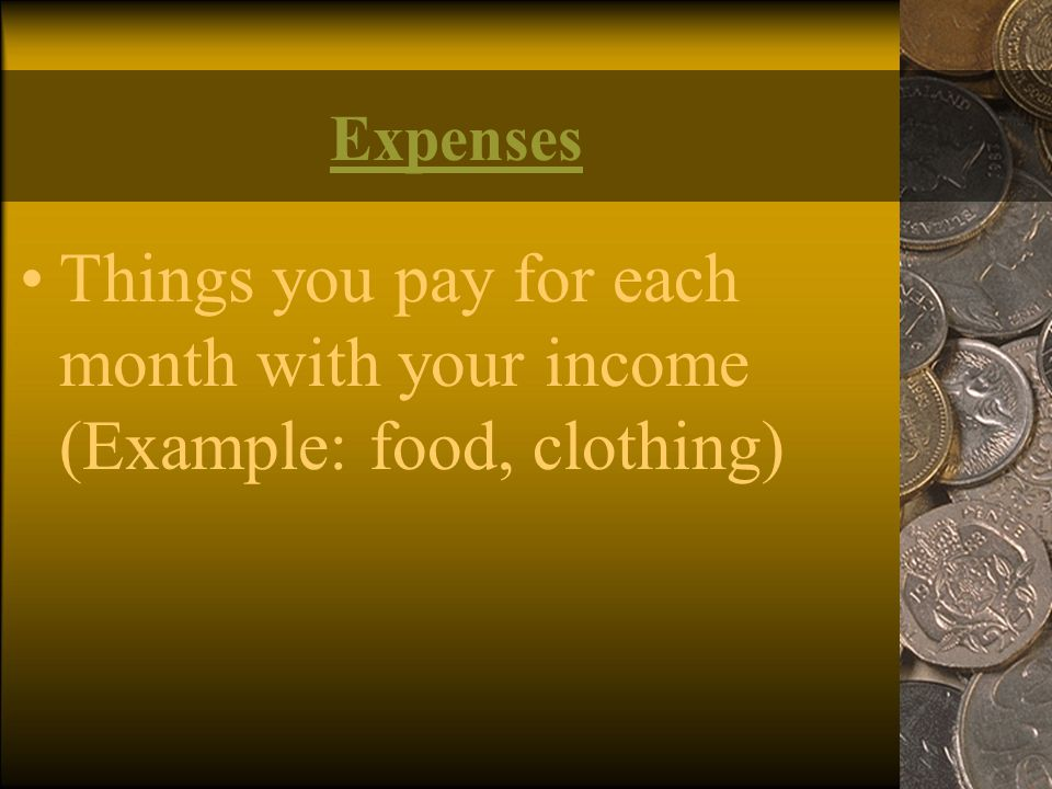 Expenses Things you pay for each month with your income (Example: food, clothing)