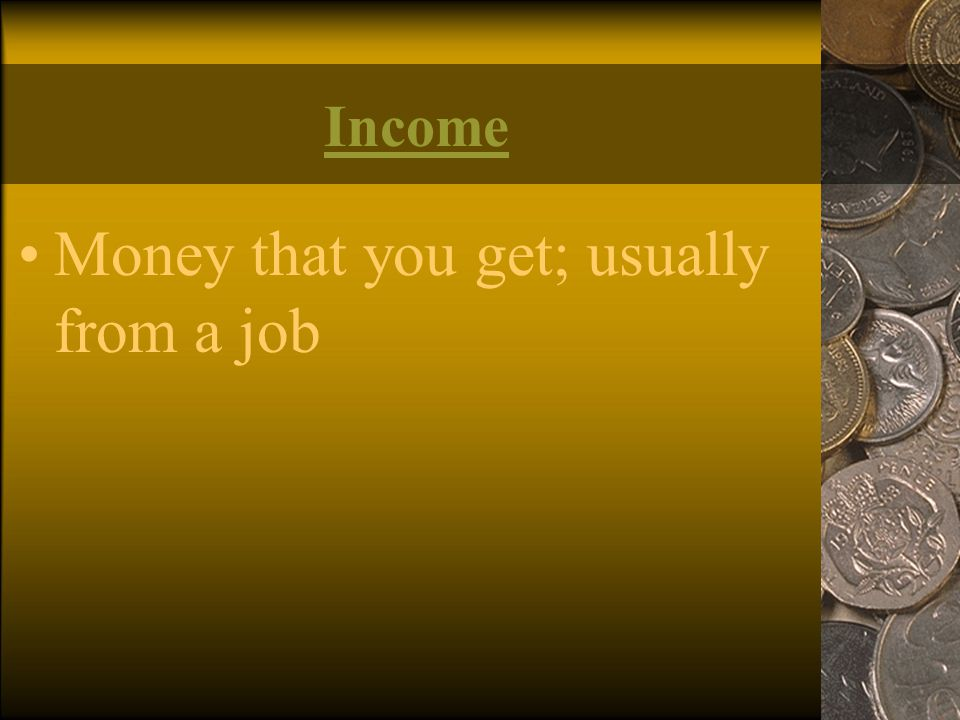 Money that you get; usually from a job