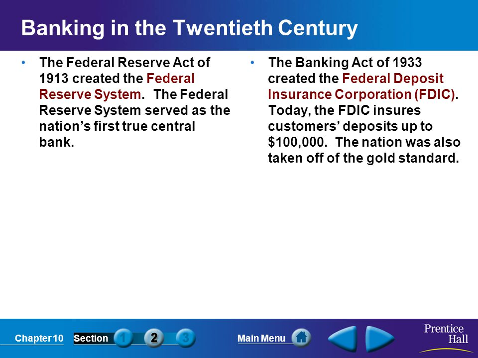 Banking in the Twentieth Century
