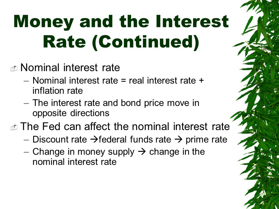 Money and the Interest Rate (Continued)