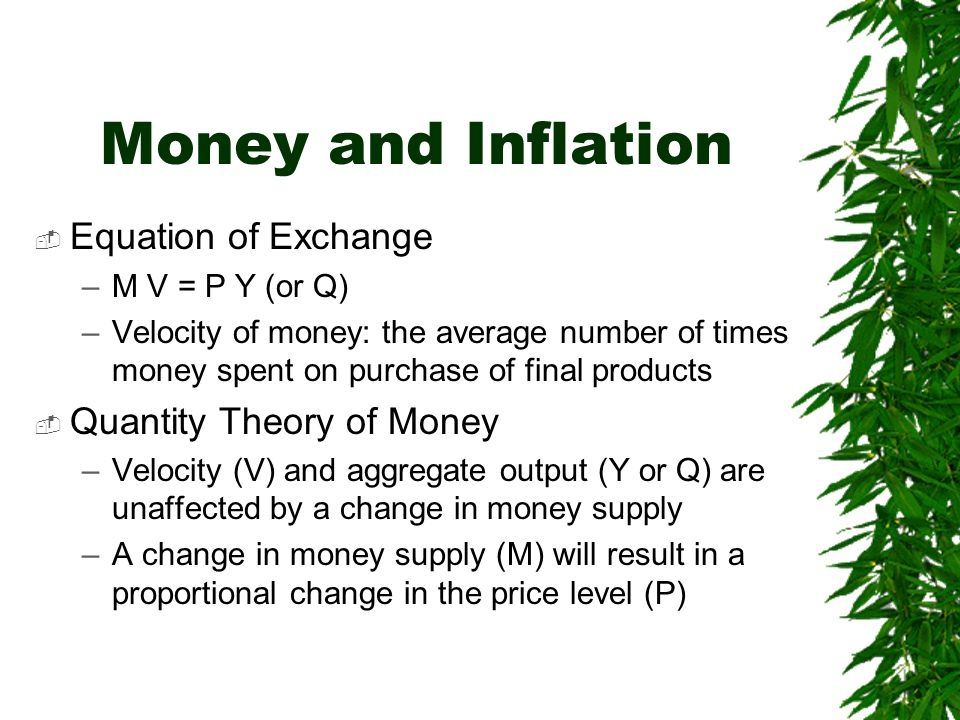 Money and Inflation Equation of Exchange Quantity Theory of Money