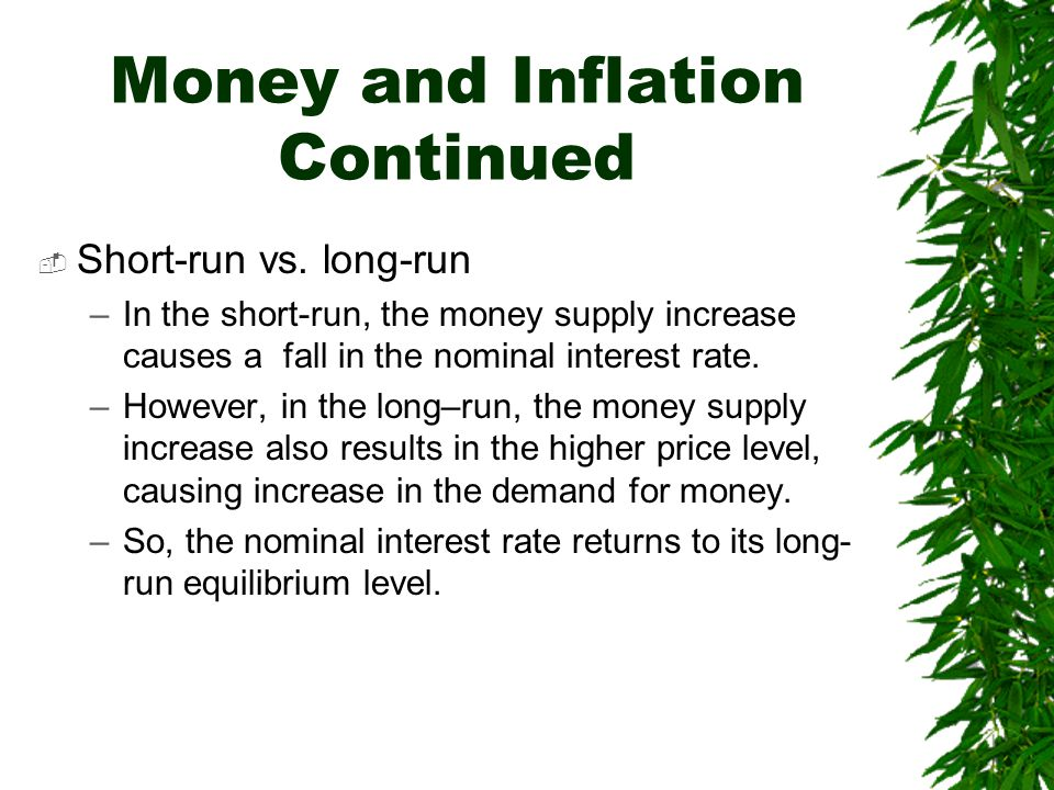 Money and Inflation Continued