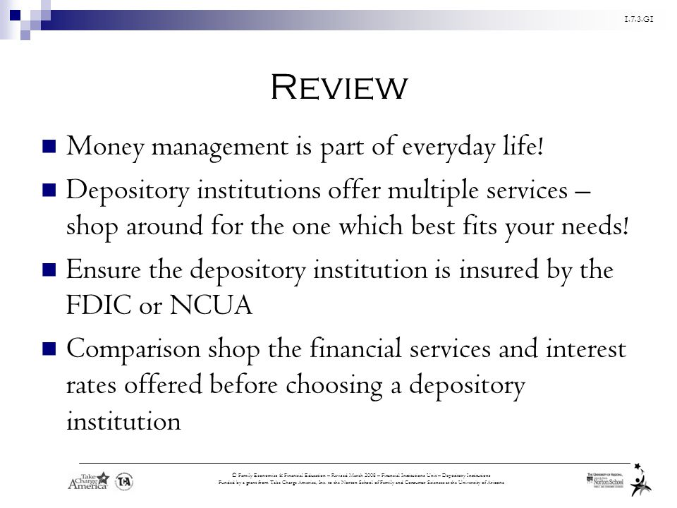 Review Money management is part of everyday life!