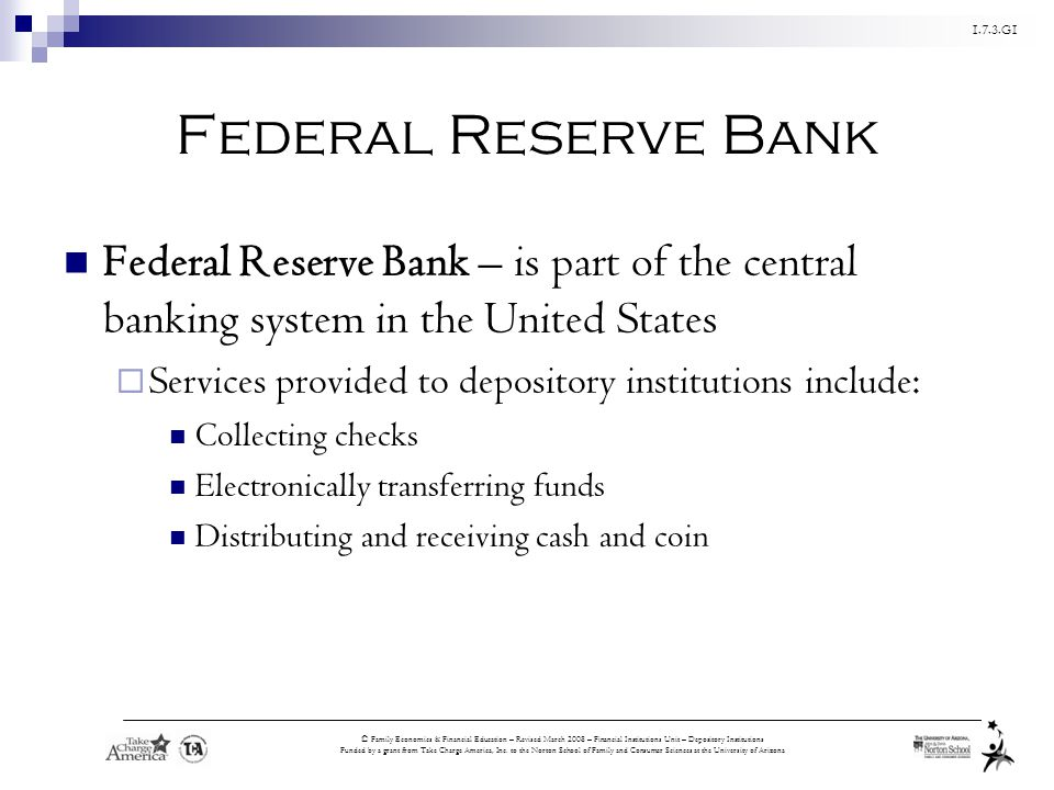 Federal Reserve Bank Federal Reserve Bank – is part of the central banking system in the United States.