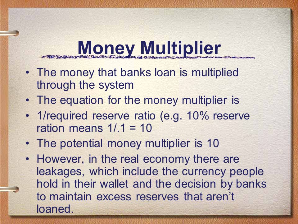 Money Multiplier The money that banks loan is multiplied through the system. The equation for the money multiplier is.