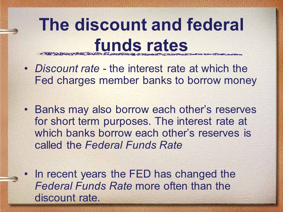 The discount and federal funds rates