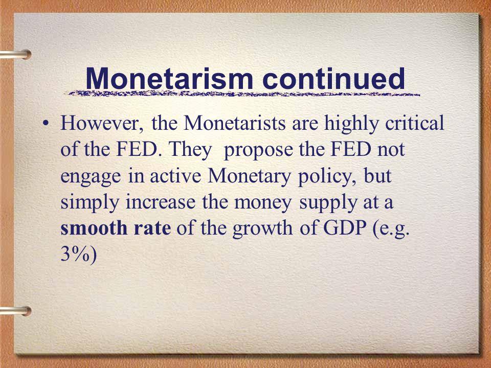 Monetarism continued