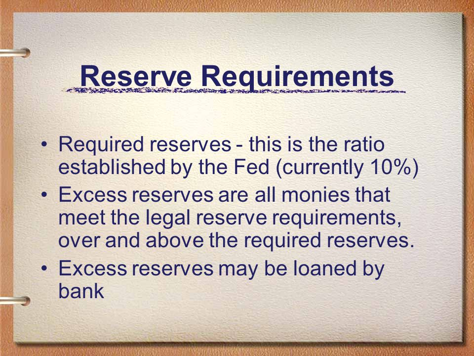 Reserve Requirements Required reserves - this is the ratio established by the Fed (currently 10%)