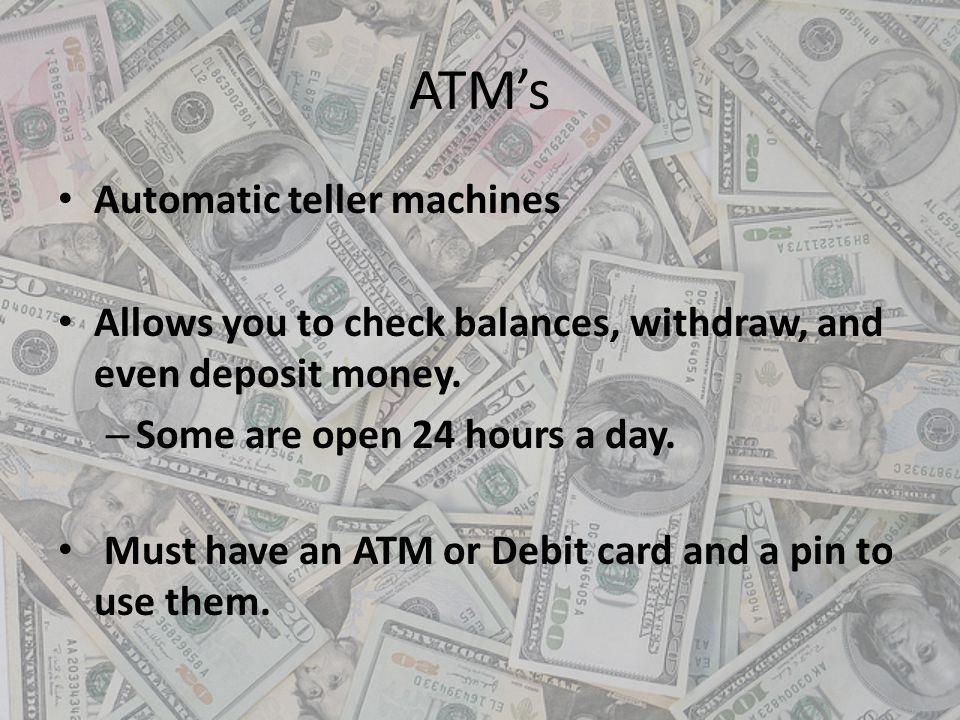 ATM's Automatic teller machines