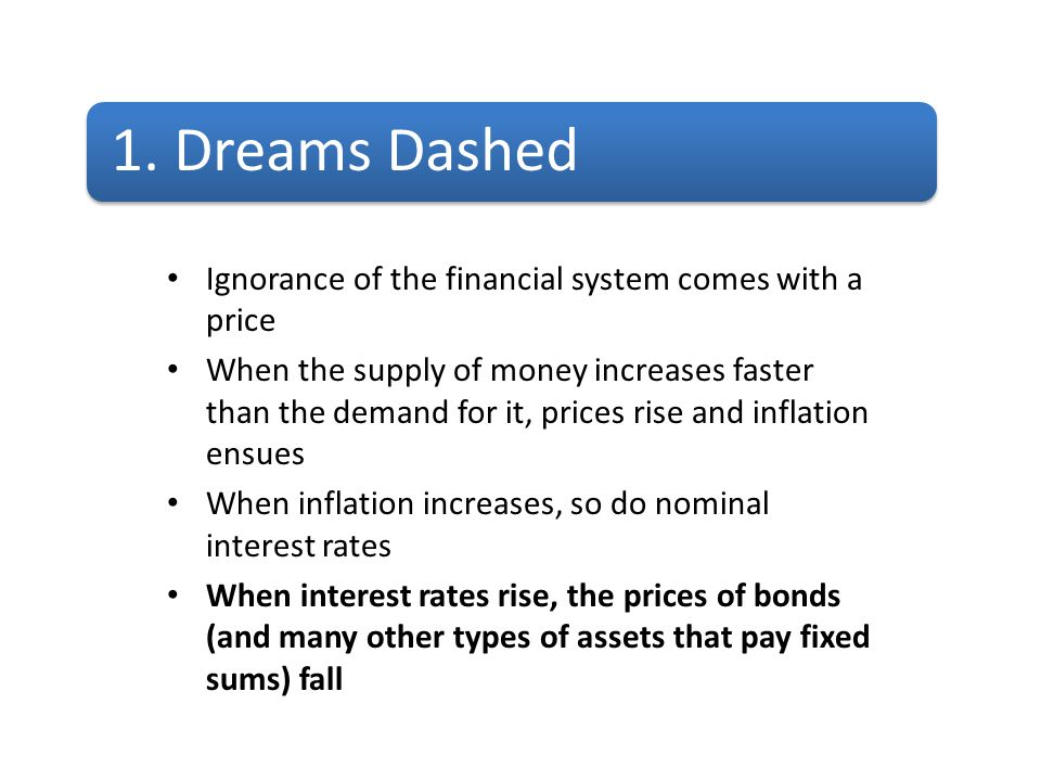 1. Dreams Dashed Ignorance of the financial system comes with a price