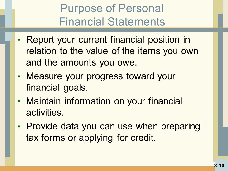 Purpose of Personal Financial Statements
