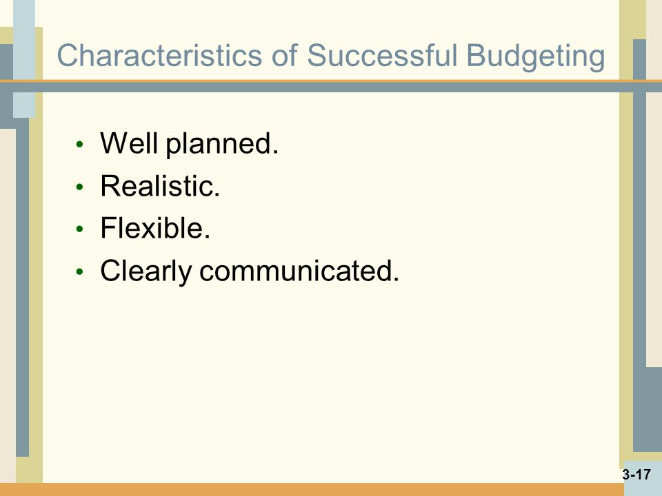 Characteristics of Successful Budgeting