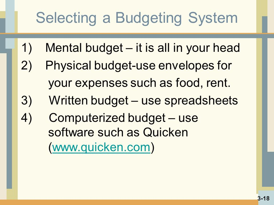 Selecting a Budgeting System