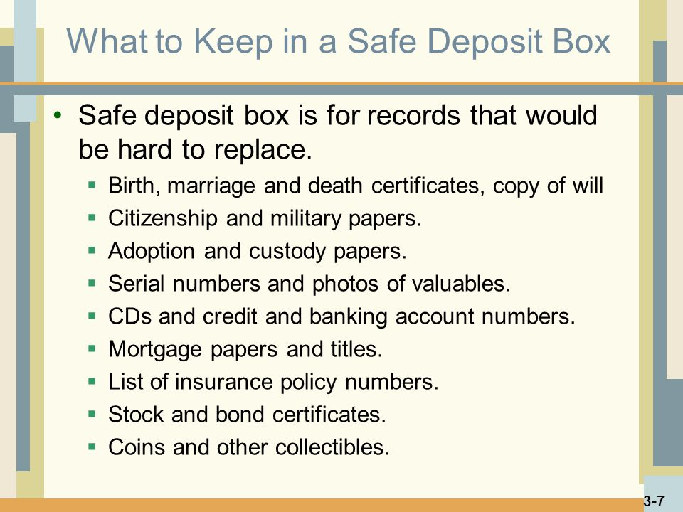 What to Keep in a Safe Deposit Box