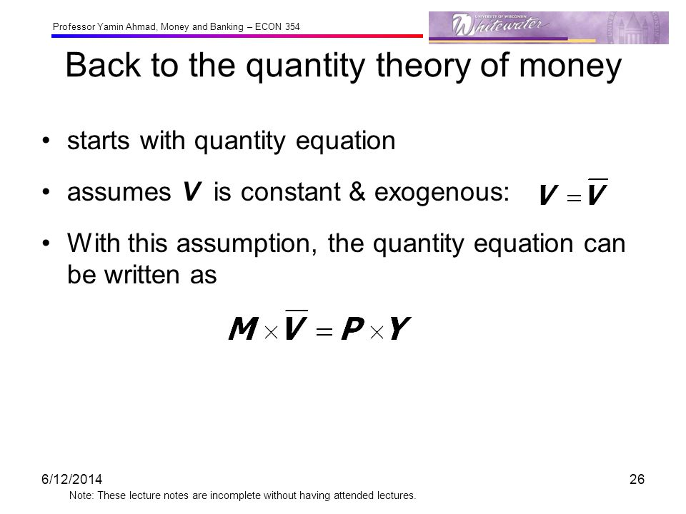 Back to the quantity theory of money