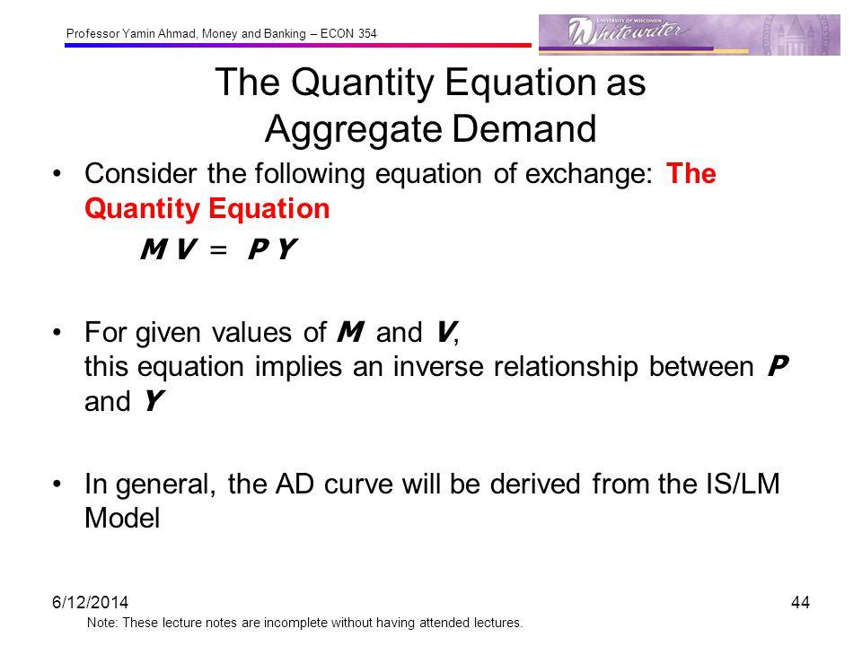 The Quantity Equation as Aggregate Demand