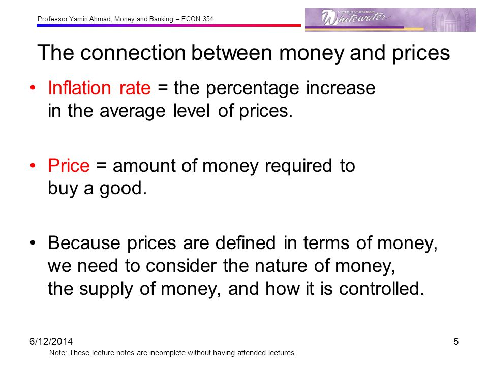 The connection between money and prices