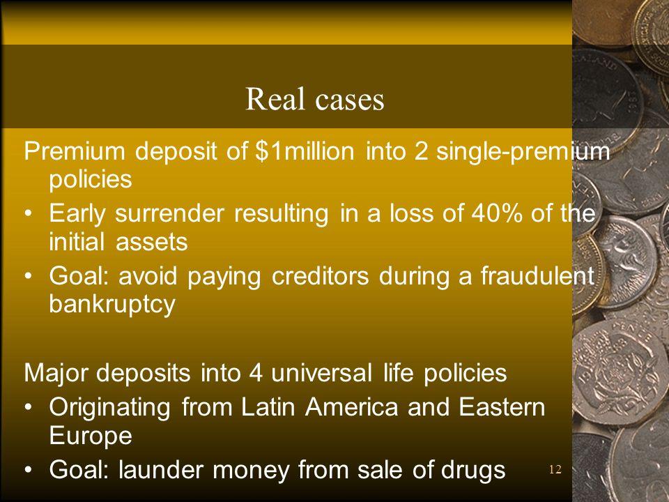 Real cases Premium deposit of $1million into 2 single-premium policies