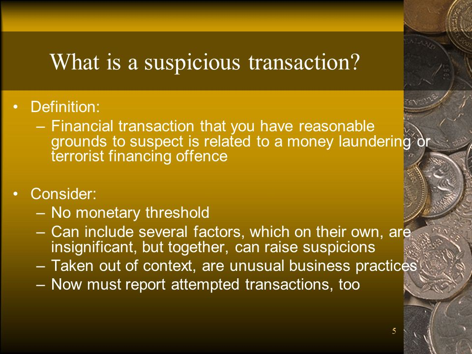 What is a suspicious transaction