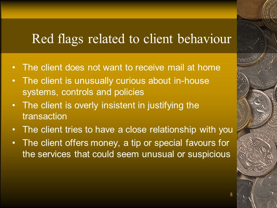 Red flags related to client behaviour