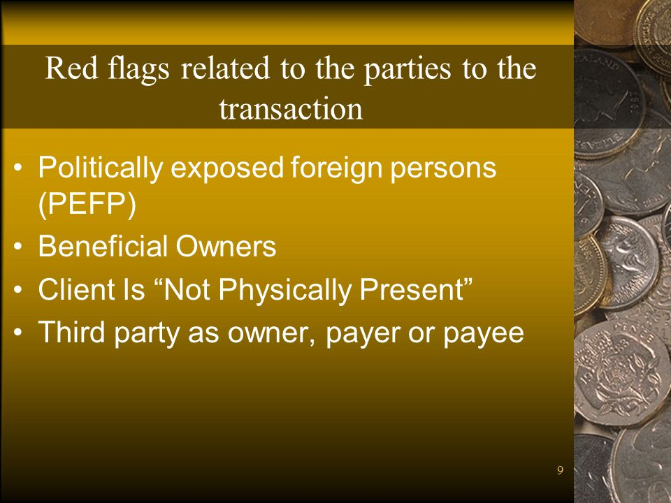 Red flags related to the parties to the transaction