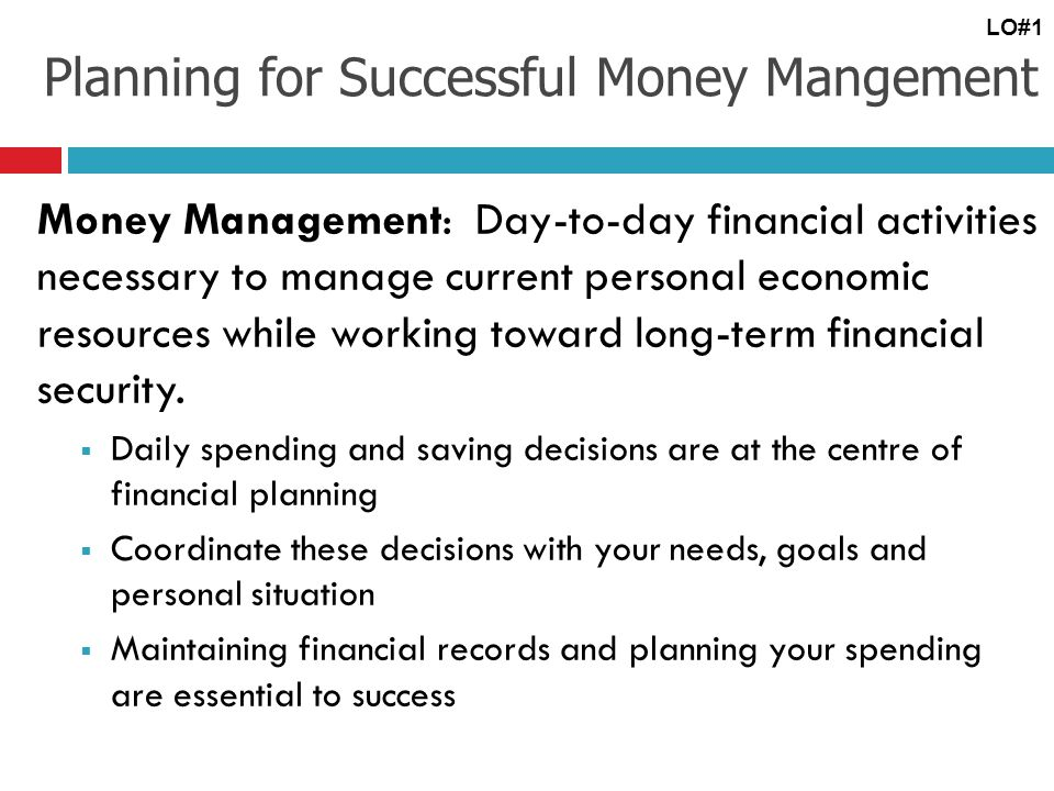 Planning for Successful Money Mangement