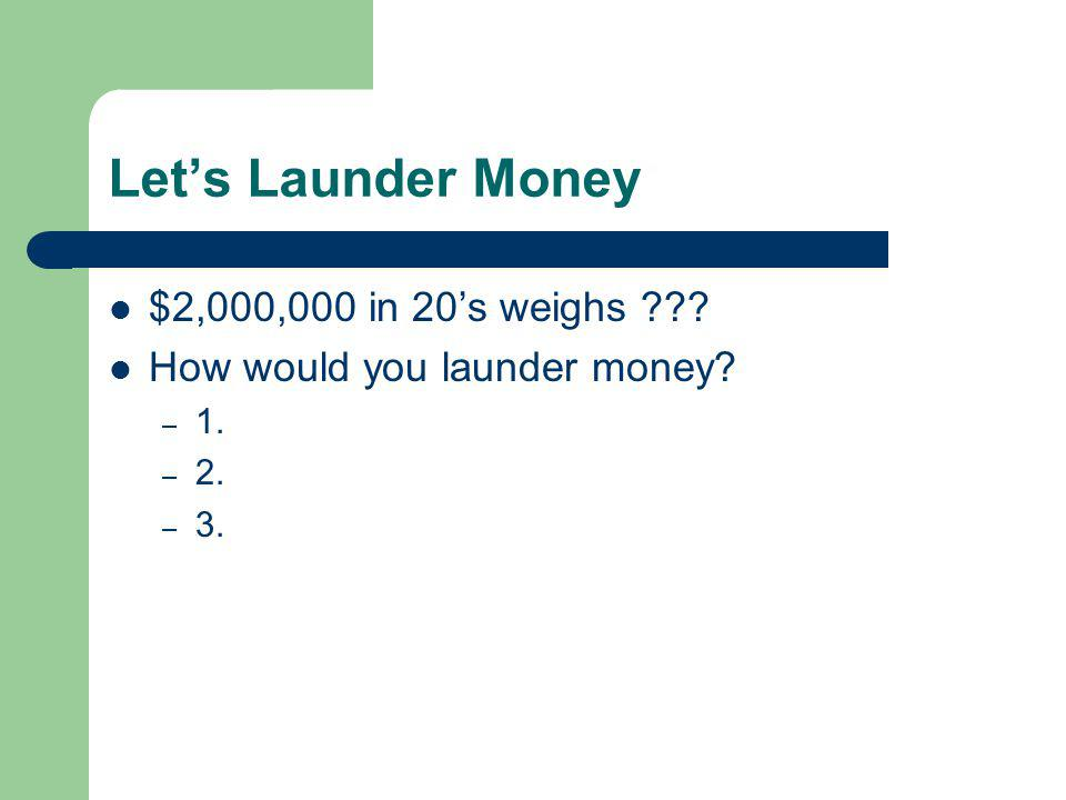 Let's Launder Money $2,000,000 in 20's weighs