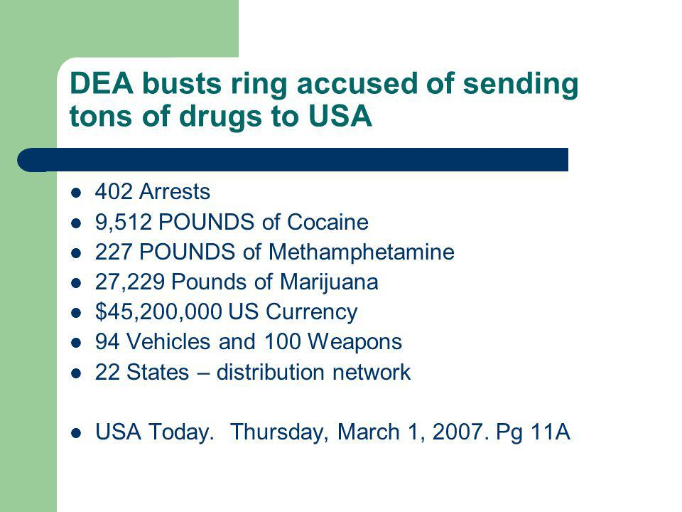 DEA busts ring accused of sending tons of drugs to USA