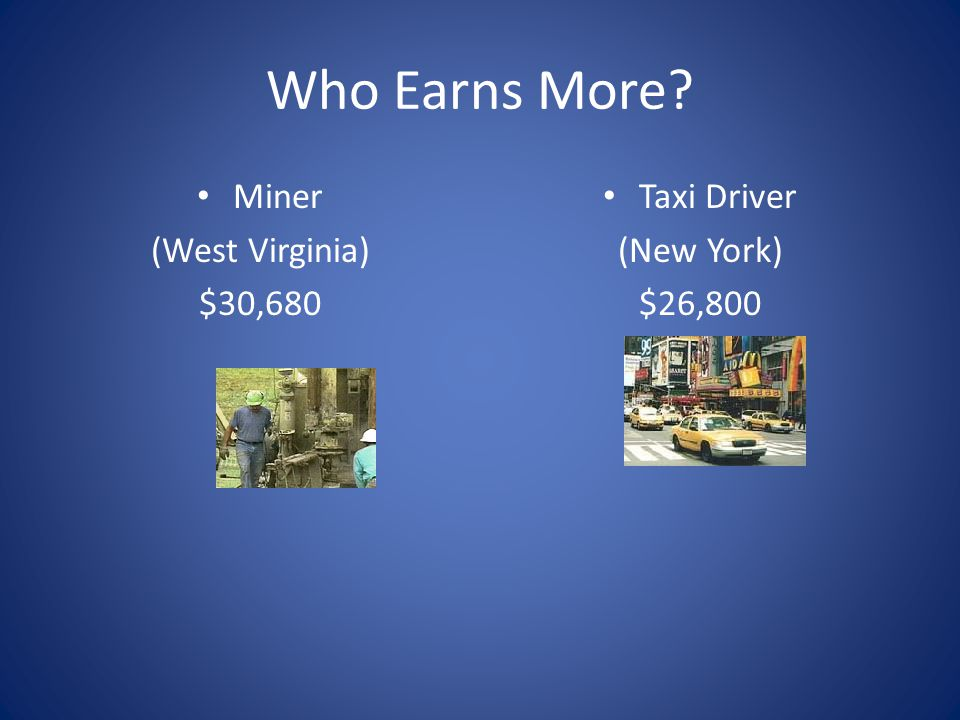 Who Earns More Miner (West Virginia) $30,680 Taxi Driver (New York)
