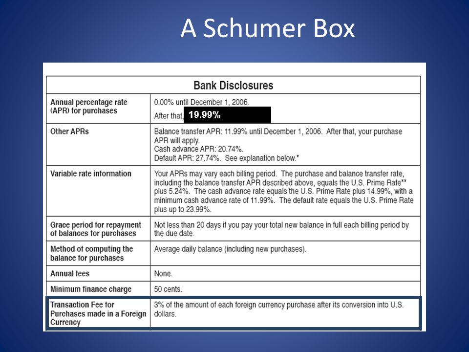 A Schumer Box 19.99%