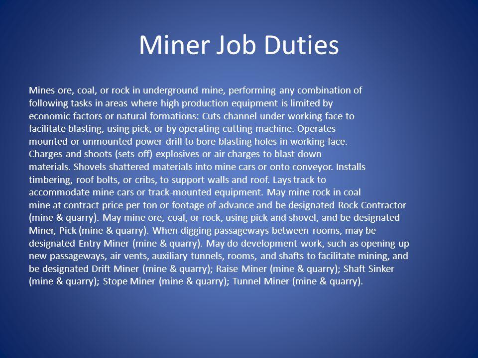 Miner Job Duties