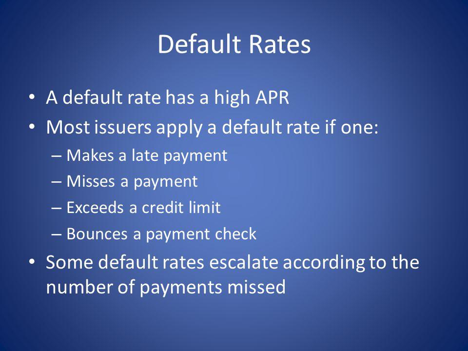 Default Rates A default rate has a high APR