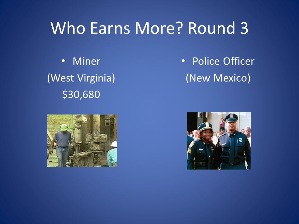 Who Earns More Round 3 Miner (West Virginia) $30,680 Police Officer
