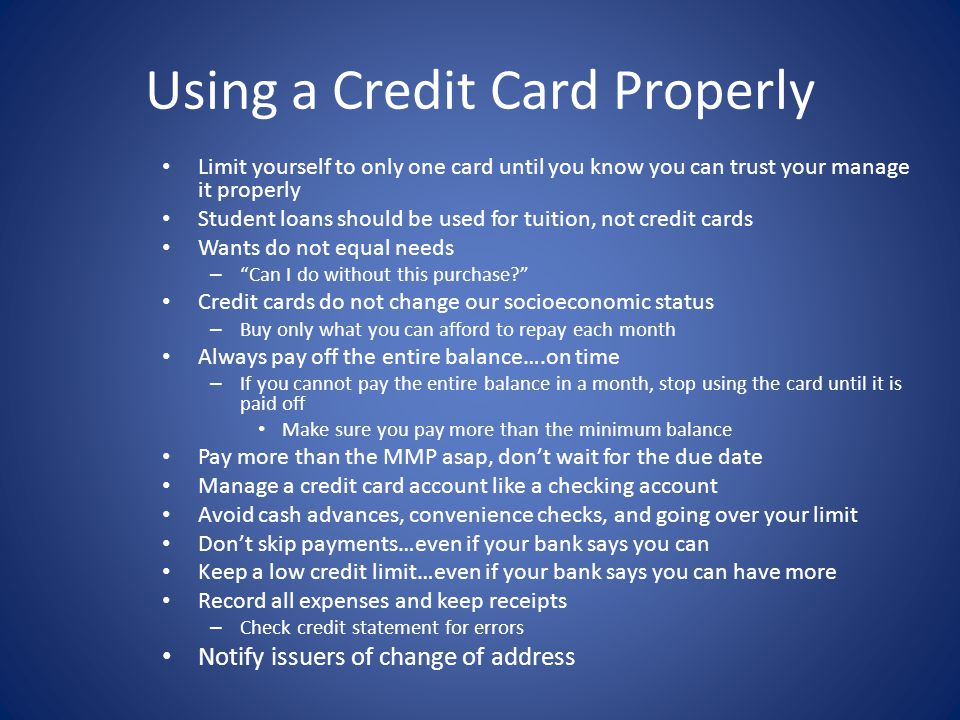 Using a Credit Card Properly