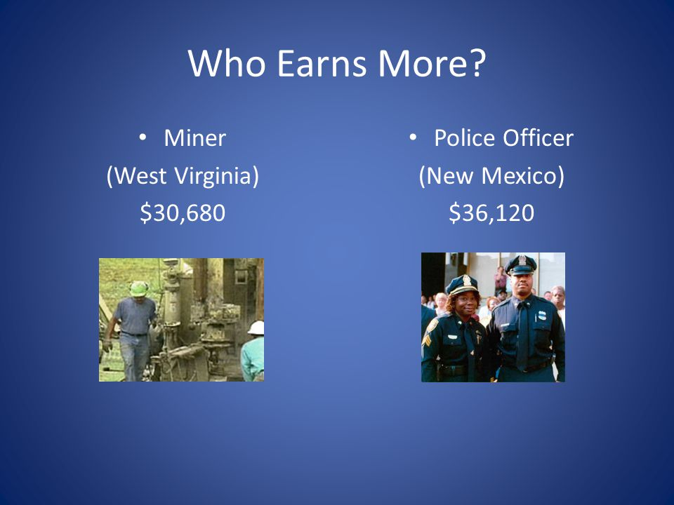 Who Earns More Miner (West Virginia) $30,680 Police Officer