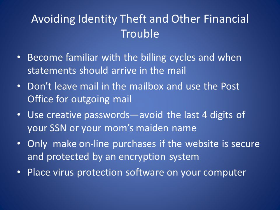 Avoiding Identity Theft and Other Financial Trouble