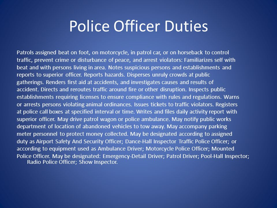 Police Officer Duties