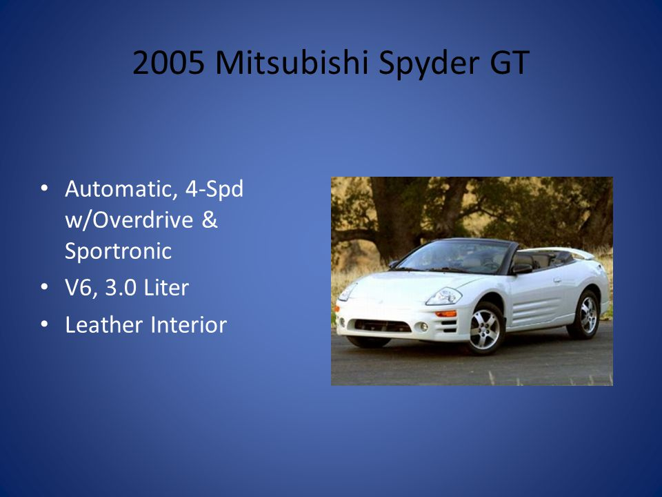 2005 Mitsubishi Spyder GT Automatic, 4-Spd w/Overdrive & Sportronic