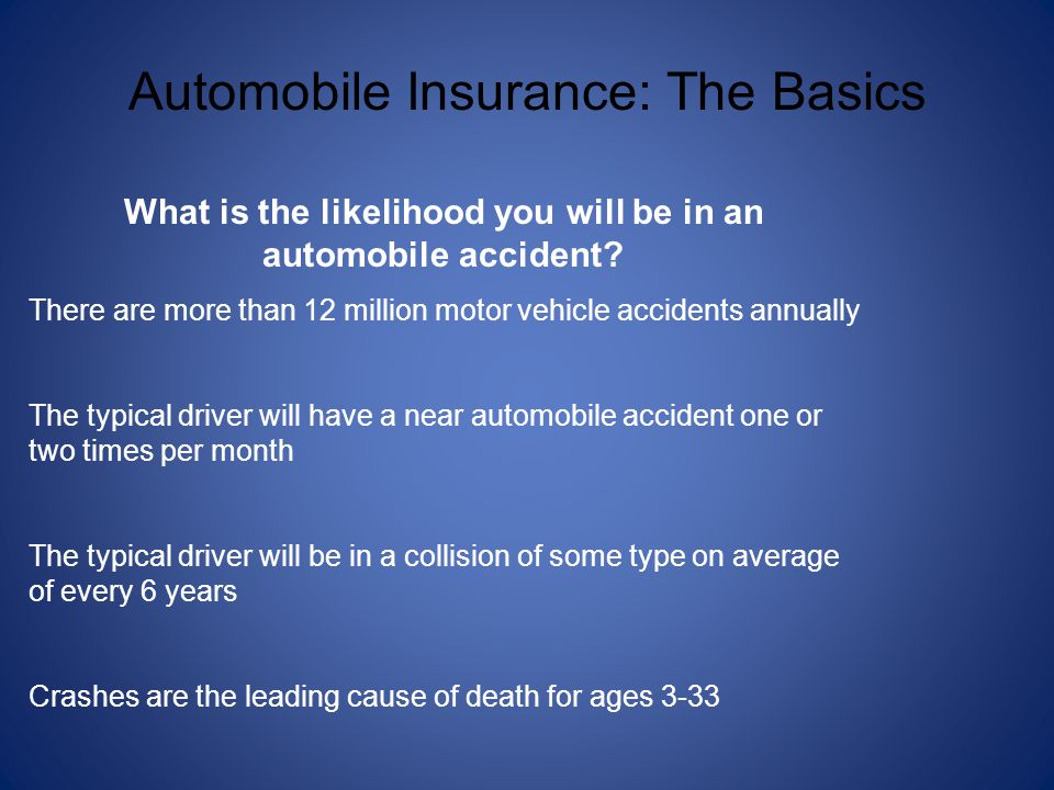 What is the likelihood you will be in an automobile accident
