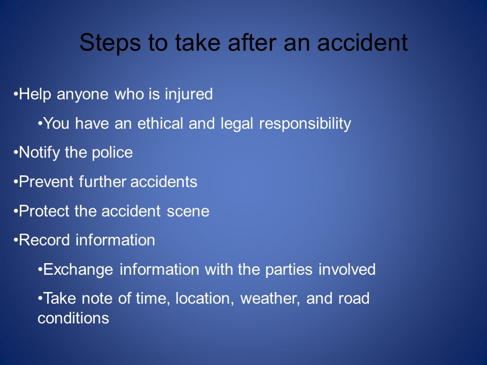 Steps to take after an accident
