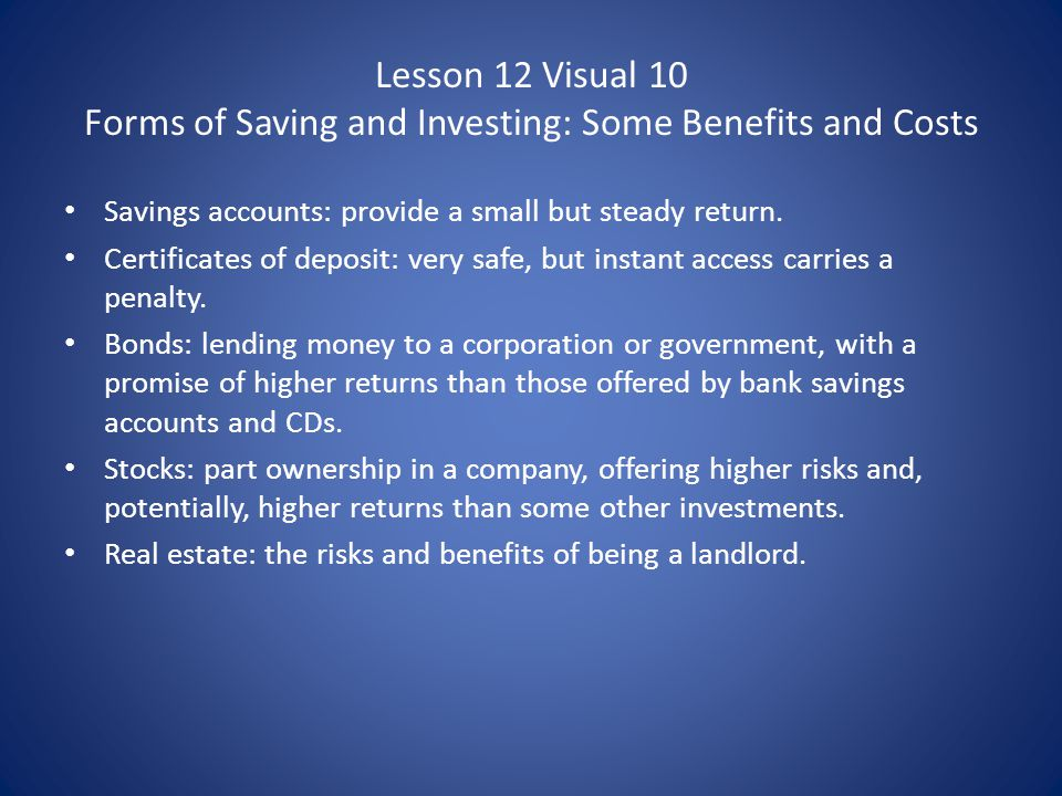 Lesson 12 Visual 10 Forms of Saving and Investing: Some Benefits and Costs