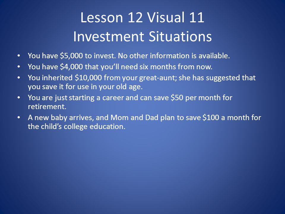 Lesson 12 Visual 11 Investment Situations