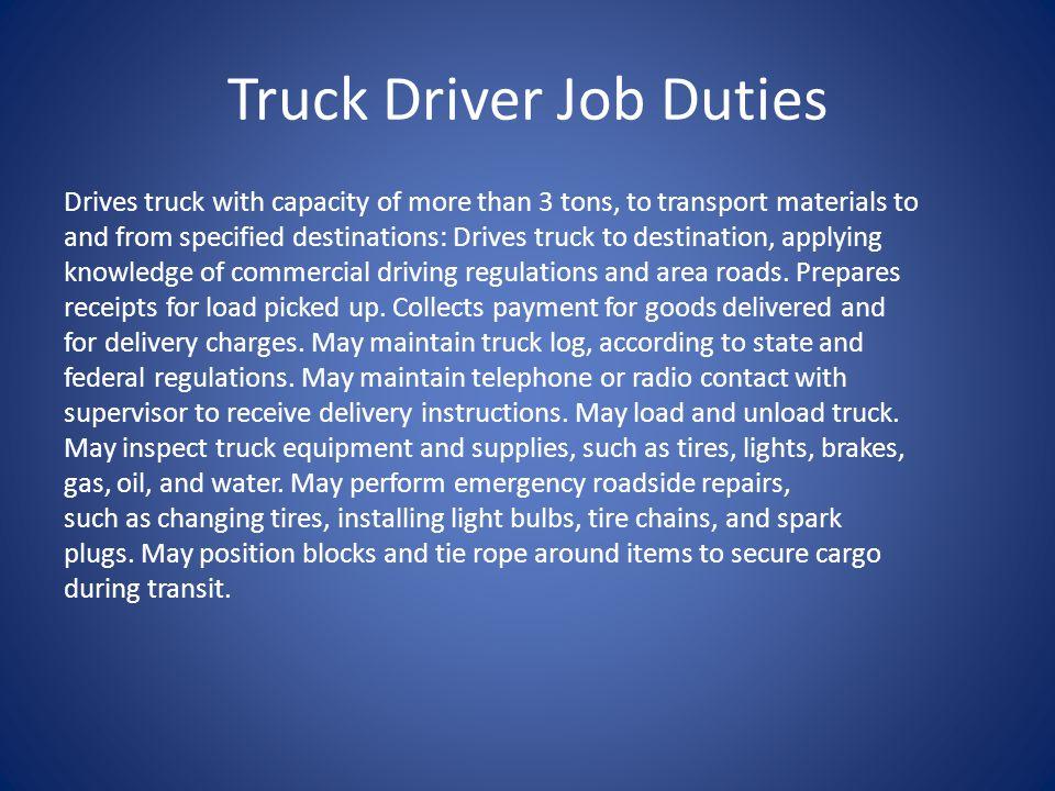 Truck Driver Job Duties