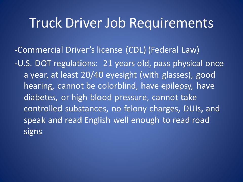 Truck Driver Job Requirements