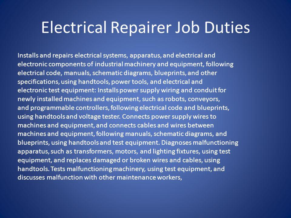 Electrical Repairer Job Duties